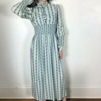 Vintage Carousel Of Philadelphia 70s Maxi Dress S/M Prairie Green Blue Floral