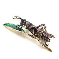 Enamel Rhinestone Grasshopper Vintage Insect Brooch Pin Sweater Gift Brooch   ZP