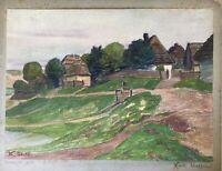 Karl Steffin Buszów Gorzów County Dorfansicht 1916 Polen 30 x 36 cm