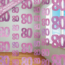 80th BIRTHDAY PARTY SUPPLIES PK 6 GLITZ PINK DANGLING HANGING DECORATIONS