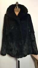 "QUALITY BLACK RABBIT FUR SHORT CLASSIC JACKET   B 42"" TO FIT 38-40"""