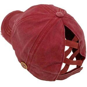 C.C Ponytail Criss Cross Messy Buns Ponycap Baseball Cap Hat Button Hook Berry