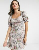 Neon Rose Floral Dress Size XS 8 & M 12 Mauve  Esmee Tapestry Milkmaid EW88 NEW