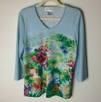 Cathy Daniels Women's Top Size Medium V-Neck 3/4 Sleeves Bling Tropical Floral