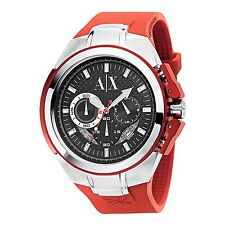 NEW ARMANI EXCHANGE SILVER TONE,RED SILICONE BAND,CHRONOGRAPH WATCH-AX1040