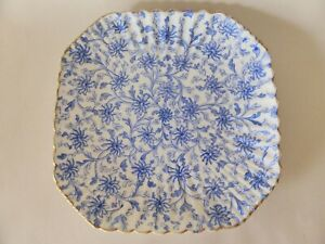 """Antique Flow Blue Serving Plate with Display Frame, 9"""" Blue and White Floral"""