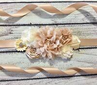 Ivory and Champagne Maternity Sash Belt /Baby Showers Sash  /Flower Girl Sash