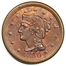 1850 N-7 R-2 Braided Hair Large Cent Coin 1c