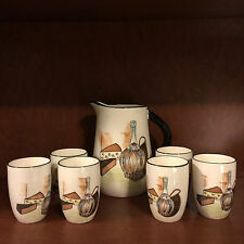 Vintage Royal Sealy Japan Pitcher and 6 Cups Wine Juice Set