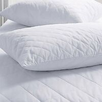Four Anti Allergy Poly Cotton Quilted Pillow Protectors Padded On One Side