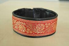 Hundehalsband/Windhundhalsband,rot, 5,5cm breit,Leder,Bordüre nach Ihren Maßen