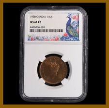 British India 1/4 (Quarter) Anna, 1938 (C) Calcutta NGC MS 64 RB King George VI