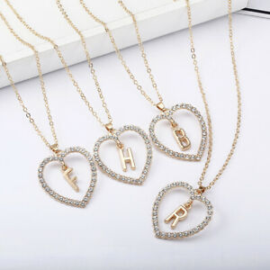 Ladies Gold Love Heart Initial Alphabet Letter Cubic Zirconia Chain Necklace UK