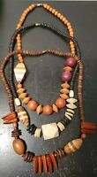 Vintage Chunky Wooden Bead Necklace Boho Carved Wood  24 inch Set of 3 Beautiful