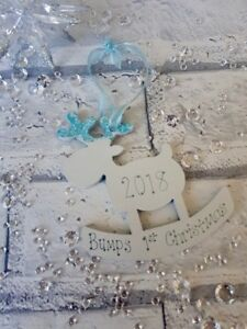 Personalised Tree Decoration Reindeer Baby Bump's 1st First Christmas 2021 Gift