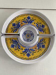 Le Cadeaux Melamine Benidorm Chip Dip 4 Pc Set Yellow Blue French Country