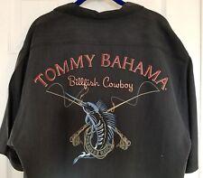 Tommy Bahama Embroidered Medium 100% Silk Camp Shirt Billfish Cowboy Black Men's