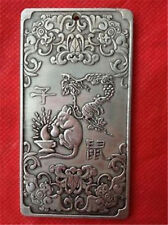Chinese Old 12 Zodiac Mouse tibet Silver Bullion thanka amulet