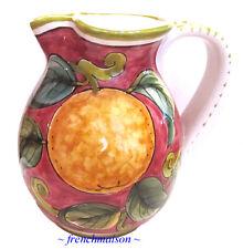 New listing Italian Handmade Handpainted Wine Water Pitcher Tuscan Ceramic Orange Plums New