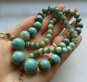 Vintage antique old jewellery art deco turquoise duck egg glass beads necklace