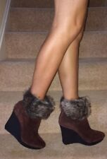 Nine West Brown Suede Faux Fur Ankle Detail Platform Wedge Heel Boots 7 40