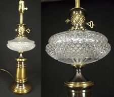 ORNATE VINTAGE table lamp SOLID BRASS GLASS hollywood regency crystal? antique