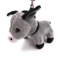 Plüsch / Kuschel / Stoff Tier Schlüsselanhänger Esel grau stehend 14 cm