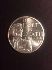 1 OZ. Debt and Death V4!  Silver Shield Coin Min Mintage BU COA ONE 1