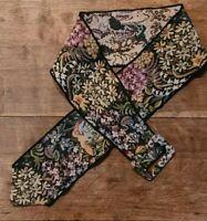 Vintage Floral Tapestry Belt Multi Color Wide Sash Fabric Buckle Floral & Birds