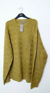 "M&S 4XL XXXXL 53-55"" CREW NECK JUMPER OCHRE YELLOW SOFT TOUCH MARKS AND SPENCER"