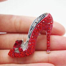 Silver Tone Elegant Lady High-Heel Shoe Red Brooch Pin Rhinestone Crystal