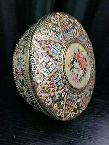 """Beautiful Vintage Round Embossed Decorative Metal Tin - Made in Holland -8.25"""""""