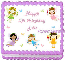 Fairy butterflies birthday image transfer sheet edible frosting cake top Icing