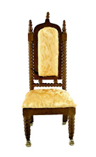Dolls House Lincoln Walnut & Gold Dining Room Library Chair Miniature Furniture