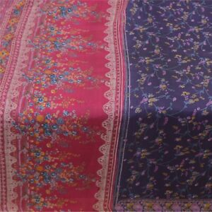 Sanskriti Vintage Blue Sarees 100% Pure Silk Printed Sari Soft 5Yd Craft Fabric