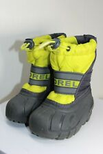 Sorel NV1799-380 Yellow/Gray/Black Insulated Kids Boots Size 5 W/Removable Liner