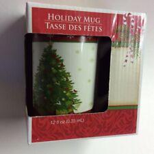 "Greenbrier Holiday Coffee Mug White Porcelain Cup Christmas Tree Holiday 5"" New"