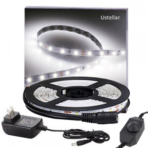 Ustellar Dimmable LED Light Strip Kit, 300 Units SMD 2835 LEDs, 16.4ft/5m 12V UL
