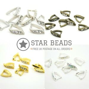 8 X BRASS PINCH BAIL PENDANT FINDINGS WITH RHINESTONES 12X8MM - PICK COLOUR