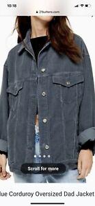 Topshop Oversized Grey Cord Jacket Size 10