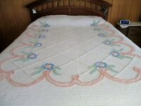 Vintage Chenille Bedspread, Pink with Blue Color Flowers in Excellent Condition