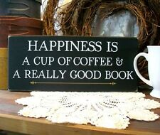 Coffee and a Good Book Wood Sign Rustic Kitchen Wall Plaque Coffee Lover