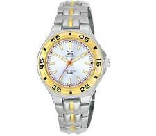 Q&Q F346-401Y Mens Silver Dive Dress Quartz Bracelet Watch New Citizen Movement