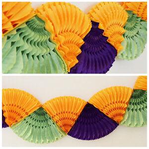 12 FT Double Paper Fan Mardi Gras Party Garland Purple Orange Green New Orleans