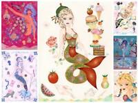 MERMAID SEA NYMPH NAUTICAL FANTASY ART COLLAGE ARTIST HAND SIGNED ART PRINT
