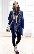 NEW Free People FP Movement Blue Shibori Bandana Hood Swing Jacket SIZE SMALL