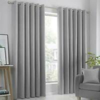 Eyelet Blackout Ready Made Luxury Curtains Pair Ring Top Curtain Silver Grey