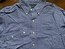$125 RALPH LAUREN L/S NAVY & WHITE CHECKERED BUTTON SHIRT - SMALL CLASSIC FIT