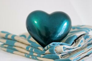 4 X TEAL CUSHION COVERS AND TEAL HEART ORNAMENT