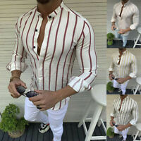 Luxury Men's Stylish Casual Dress Shirt Slim Fit T-Shirts Formal Long Sleeve Top